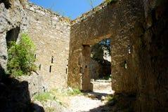 Inside Puilaurens kasztel w południe Francja obraz royalty free