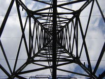 Inside the pylon. Of high-voltage line royalty free stock image