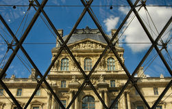 Inside the pyramid of the Louvre Museum Royalty Free Stock Image