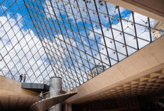 Inside the pyramid of the Louvre Museum Stock Images