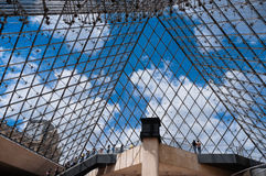 Inside the pyramid of the Louvre Museum Royalty Free Stock Images