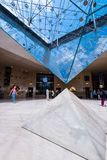 Inside the pyramid of the Louvre Museum stock photography