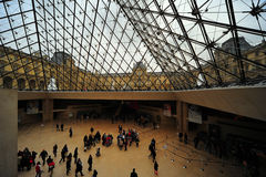 Inside the pyramid, Louvres, Paris Royalty Free Stock Photo