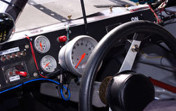 Inside Racecar. Inside look at a race car and its gauges Stock Photo