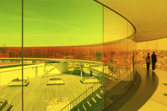 Inside the rainbow colored installation upon Aarhus art museum Royalty Free Stock Photo