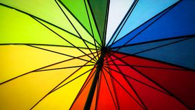 Inside of a Rainbow Colored Umbrella Royalty Free Stock Images