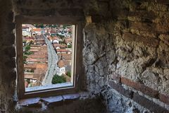 Inside the Rasnov fortress, Transylvania, Romania. stock images