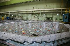 Inside RBMK High Power Channel-type Reactor reactor room. Massive reactor lid, reactor fuel elements under square shields.  Royalty Free Stock Photos