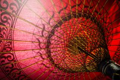 Inside of red umbrella traditional royalty free stock photography