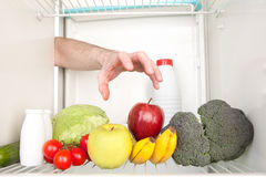 Inside refrigerator Stock Photo