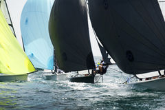 Inside the regatta. Inside yacht close up in the regatta Royalty Free Stock Images