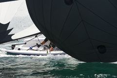 Inside the regatta. Inside yacht close up in the regatta Royalty Free Stock Photography