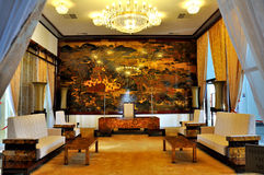 Inside of The Reunification Palace. Reunification Palace formerly known as Independence Palace, built on the site of the former Norodom Palace, is a landmark in Stock Photos