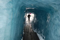 Inside the Rhone Glaicer. A view from inside the Rhone Glacier in the Grimsel-Furka pass region of Switzerland.  The Rhone glacier is one of the largest glacier Royalty Free Stock Image