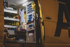 The inside of roadside rescue van by the AA in the United Kingdom. stock photo