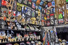 Rock Shop Store in Madrid Spain stock images