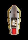 Inside of rocked bullet with bomber explosive mach Stock Photo