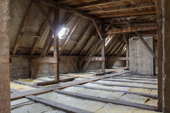 Inside roof framework, penthouse before construction Royalty Free Stock Photos