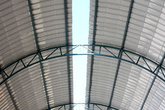 Inside roof. Iron construction roof for industrial Royalty Free Stock Photo