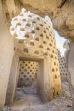Inside ruined dovecote mud building in Ampudia