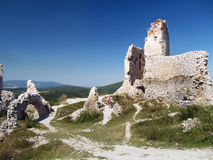 Inside ruins of Cachtice castle royalty free stock photography