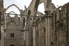 Inside the ruins of Carmo Convent Royalty Free Stock Photo