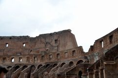 Inside The Colosseum. Inside the ruins of the Colosseum - landmark attraction in Rome, Italy Royalty Free Stock Photos