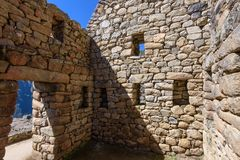 Ruins of a Building at Machu Picchu stock images