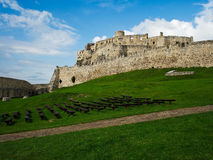 Inside the ruins of Spis castle, Slovakia. Spis castle, Slovakia - one of the largest castle sites in Central Europe. This is a view was taken inside the castle royalty free stock image