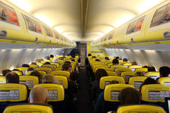 Inside of the Ryanair airplane Royalty Free Stock Photography