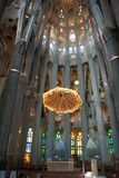 Inside Sagrada Familia, amazing cathedral by Gaudi royalty free stock photos