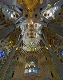 Inside Sagrada Familia in Barcelona , Spain. Barcelonas famous cathedral La Sagrada Familia which was started to be built-up in 1882 stock photography