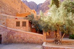 Inside of Saint Catherine`s Monastery in Sinai moumtains, Egypt.  stock image