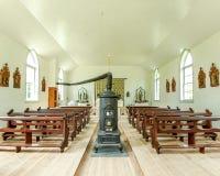 Inside Saint Peter`s Catholic Church - Old World Wisconsin stock image