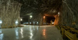 Inside the salt mine. Panoramic view inside the salt mine at Praid, Romania Royalty Free Stock Images