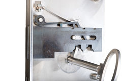 Inside of a sample door lock with key Stock Image