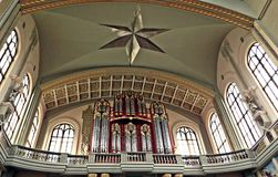 The inside of the sanctuary. View from the bottom of the organ at the sanctuary of Lichen Royalty Free Stock Photos