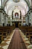 Inside of the Santa Maria church of Valli del Pasubio in Italy Stock Photos