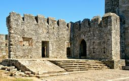 Inside Santa Maria da feira castle royalty free stock images