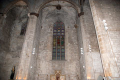Inside the Santa Maria del Mar-- is an imposing church in the Ri Royalty Free Stock Image