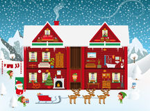 Inside the Santa´s House vector illustration