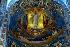 Inside the Savior on the Spilled Blood, St Petersburg USSR Royalty Free Stock Images