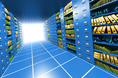 Inside server. Corridor between the shelves with files, folders and boxes. Hi-res digitally generated image Stock Photo