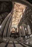 Inside of the Seville cathedral royalty free stock photos
