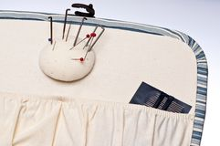 Inside of Sewing Basket Stock Photo