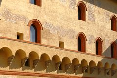 Inner courtyard of the Sforza Castel in Milan, Italy Stock Photo
