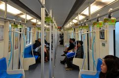 Inside Shanghai subway train carriage China Royalty Free Stock Photography