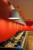 Inside of a shoe store Royalty Free Stock Photography