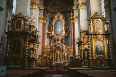 Inside shot of a basilica with beautiful sculptures in Prague, Czech Republic