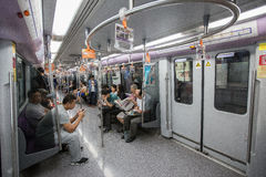 Inside shot of a Metro Train. A inside shot of people in a Metro train, in Shanghai, China stock photos